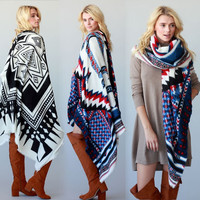 Western Fashion BOHO AZTEC TRIBAL THICK OVERSIZE SQUARE SCARF BLANKET SHAWL WRAP