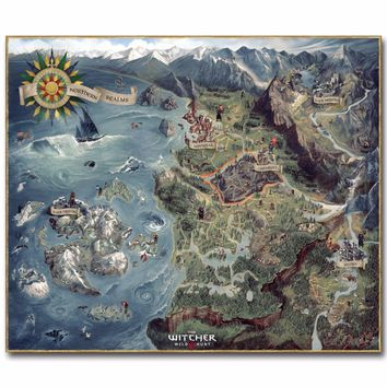 The Map of Witcher 3 Wild Hunt Art Silk Poster Huge Pritn  Hot Game Pictures for Living Room Decoration