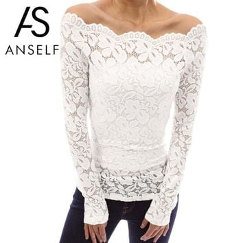 SHIRT Sexy Lace Top Women Hollow Out Off Shoulder Lace Blouse Slash Neck Long Sleeves Elegant Ladies Shirt Tops