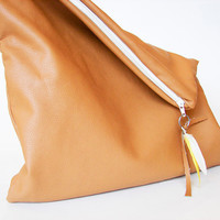 Oversized Leather Clutch in Camel Colored Faux Leather by Stoic
