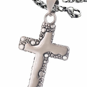 Silver Freeform Cross with our Exclusive 4mm Braided Chain Men Womans Girls Boys Christian Jewelry - Saint Michaels Jewelry