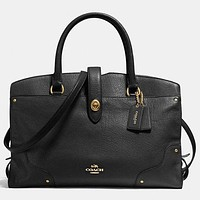 COACH Women Men Shopping Leather Tote Handbag Shoulder Bag Office Package (4-Color) Black I