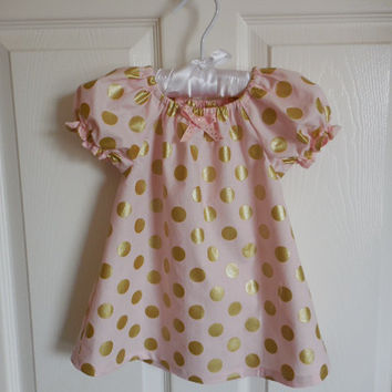 Girls and babies pink and gold dot peasant dress