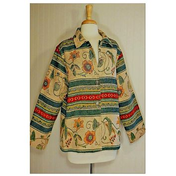 Vintage, Women's Coats, floral, hippie, festival, tribal, ethnic, Indian, tapestry, bohemian, jacket