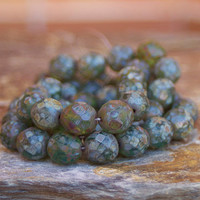 Czech Faceted Glass Beads - 12mm Fire polished Green Picasso