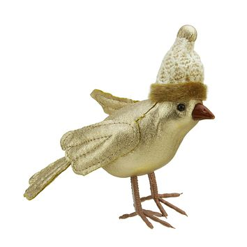 "5"" Gold Bird Wearing Knitted Winter Hat Christmas Ornament"