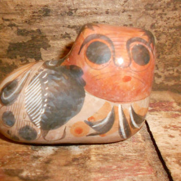 Tonala Cat Burnished Mexican Gato Painted Folk Art Pottery Vintage Cultural Collectible