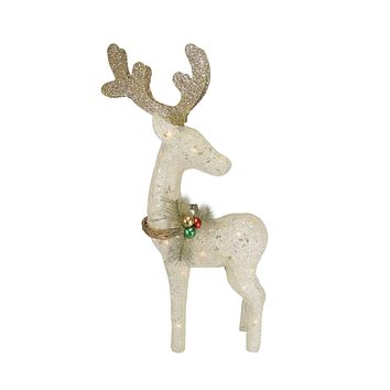"37"" Lighted Sisal Standing Reindeer Christmas Outdoor Decoration"