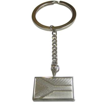 Silver Toned Etched South Africa Flag Pendant Keychain