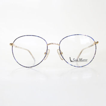 Vintage 1980s Round Eyeglasses Womens Blue Sapphire Geek Chic Frames Glasses Optical Frames Wire Rim Minimalist Hipster Fashion