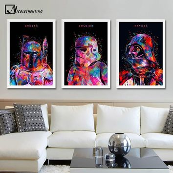 Star Wars Force Episode 1 2 3 4 5  7 Minimalist Art Canvas Poster Painting Darth Vader Stormtrooper Movie Wall Picture Print Home Bedroom Decoration AT_72_6