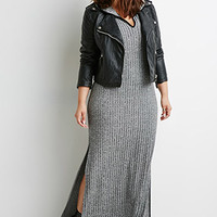 Hooded High-Slit Midi Dress