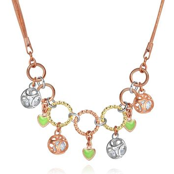 Fancy Eternity Circles NeHearts Magical Amulet Gold-Tone Dancing Crystals 18 Inch Necklace