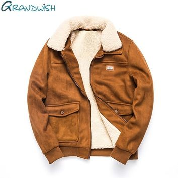 Grandwish Thicken Winter Fleece Jacket Coat Men Turn-down Collar Velvet Jacket Men Fur Collar Men's Warm Coat Parkas ,DA436
