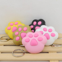 kawaii cat's paw led keychain with Meow meow sound, Flashlight keychains,cute keyrings,the cat's toys3#