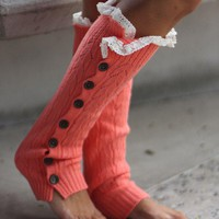 Coral Button Down Knit Leg Warmers