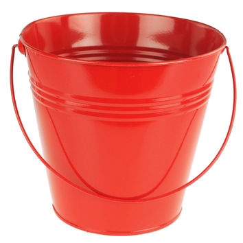 Metal Pail Bucket Party Favor, 7-Inch, Red
