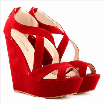 Loran Sten thick wedge sandals female high-heeled shoes waterproof Suede Sandals 391-10 muffin fish mouth