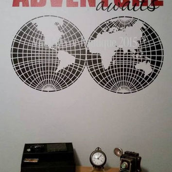 Adventure Awaits World Map Vinyl Wall Decal, Wall Art, Wall Quote, Vinyl Decal, Vinyl Wall art: Adventure Awaits World Map Vinyl Decal