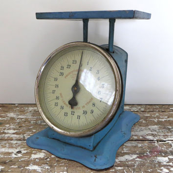 Vintage Kitchen Scale Prudential Family Scale American Cutlery Co Blue Scale