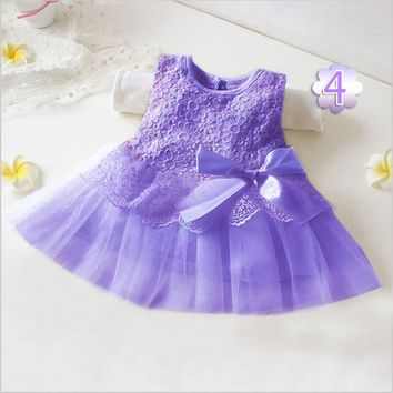 ruffle girls party outfits 12 anos vestido festa infantil menina infant girl summer clothes purple baby dress with cute bow