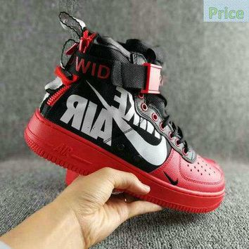 Genuine Nike Special Field SF AF1 Mid air force treasure Red zipper Plate shoes shoe