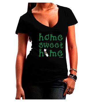 Home Sweet Home - California - Cactus and State Flag Juniors V-Neck Dark T-Shirt by TooLoud