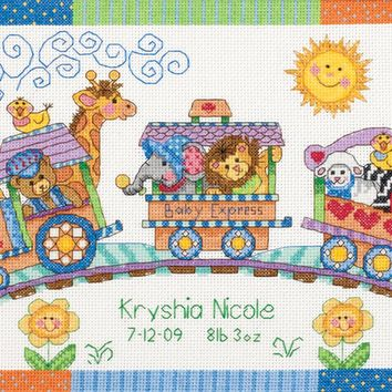 "Dimensions/Baby Hugs Counted Cross Stitch Kit 12""X9""-Baby Express Birth Record (14 Count)"