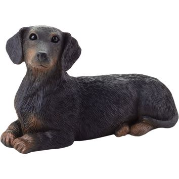 "Sandicast ""Small Size"" Lying Black Dachshund Dog Sculpture"