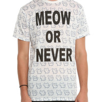 Meow Or Never Pixel Cat T-Shirt