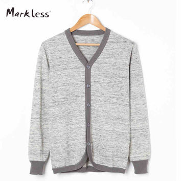 Markless New Casual Men Cardigan Sweaters Men's Thin Wool Knitting Clothing V-neck Full Length Sleeve Cardigans