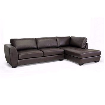 Orland Brown Leather Modern Sectional Sofa Set with Right Facing Chaise By Baxton Studio