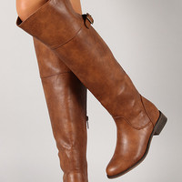 Buckle Round Toe Riding Knee High Boot
