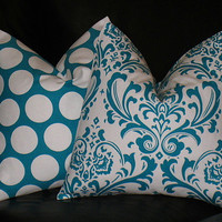 Accent Pillows Decorative Home Decor Pillow Covers TURQUOISE 16 inch aqua and white Damask & Polka Dot