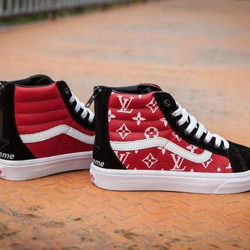 DCCK Vans x Supreme x LV SK8-HI Casual skateboard shoes