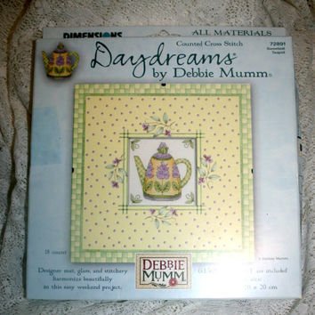 Daydreams by Debbie Mumm 72891 Sweetest Teapot Counted Cross Stitch Kit with Glass Frame Complete X Stitch Teapot Kit Kitchen Decor Tea Time