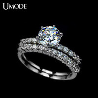 1.75 Carat Set of 2 Cubic Zirconia Engagement Rings CZ Engagement Rings set Round Cut Diamond Ring Silver Ring Engagement Ring Wedding Ring