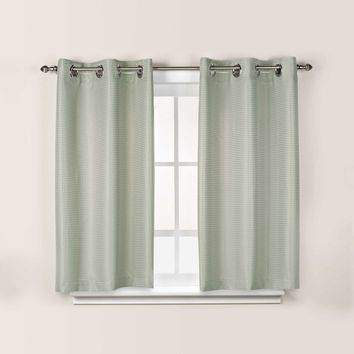 Hookless Waffle 45-Inch Bath Window Curtain in Sage Green