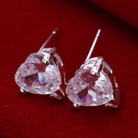 Sterling Silver Heart Shaped Crystal Stud Earring
