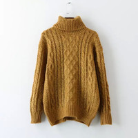 Plain Twisted Long-Sleeve Turtleneck Sweater