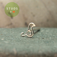 NOSE STUD /French Bird Swirl sterling silver/ Piercing/ Tragus Ear/ Cartilage Earrings/ Nose ring/ Hoop nose/ Helix Earrings
