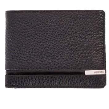 Nardò-Textured Leather Bi-Fold Wallet-Black