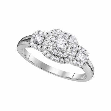 14kt White Gold Womens Round Diamond Solitaire Double Halo Bridal Wedding Engagement Ring 1/2 Cttw