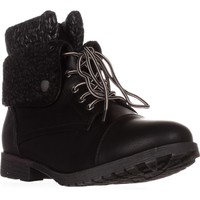 Rock & Candy Spraypaint Foldover Ankle Boots, Black/ Grey Knit, 7 US