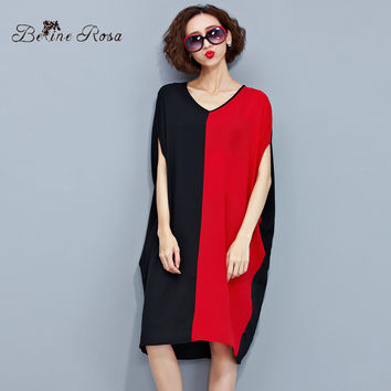 Women Casual Dresses Women's Red Black Hit Color European Style V Neck Batwing Sleeve Long Shirt Dress