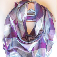 Blanket Scarf, Plaid Blanket Scarf, Blue Purple Plaid Scarves, Winter Scarf, Cotton Scarf, Oversized Blanket Scarf