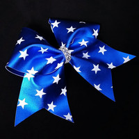 Cheer bow, 4th of July cheer bow, blue cheer bow, cheer bow with stars, cheerleader bow, cheerleading bow, softball bow, dance bow, cheerbow