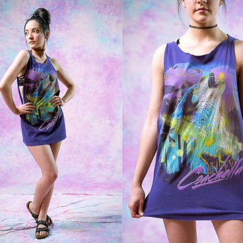 vtg 80's wolf coachella tee, retro 1980s purple tank, summer festival shirt, 1990s ironic vtg tumblr, soft grunge vaporwave fashion