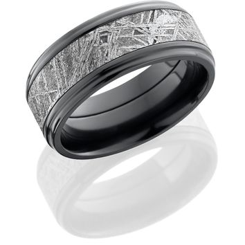 Zirconium ring hand crafted 9mm flat band with grooved edges and 5mm meteorite center