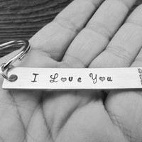 Key Chain I Love You Hand Stamped  Aluminum Metal Key Ring Rectangle Bar Hearts Anniversary Wedding Present
